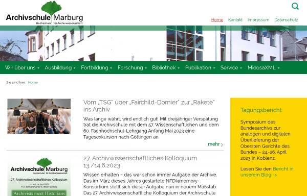 Vorschau von www.archivschule.de, Archivschule Marburg