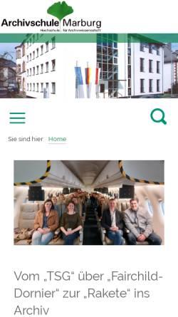Vorschau der mobilen Webseite www.archivschule.de, Archivschule Marburg