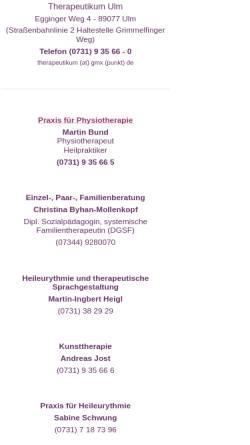 Vorschau der mobilen Webseite therapeutikum-ulm.de, Therapeutikum