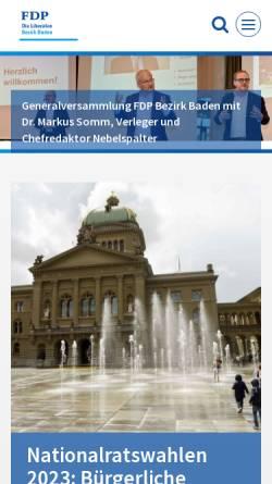 Vorschau der mobilen Webseite www.fdp-bezirkbaden.ch, FDP Bezirk Baden