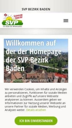 Vorschau der mobilen Webseite www.svp-bezirkbaden.ch, SVP Bezirk Baden