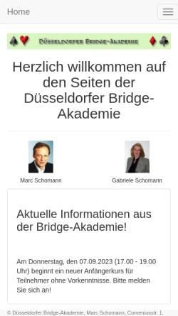 Vorschau der mobilen Webseite www.bridge-akademie.de, Düsseldorfer Bridge-Akademie