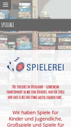 Vorschau der mobilen Webseite www.spielerei-duesseldorf.de, Spielerei Düsseldorf