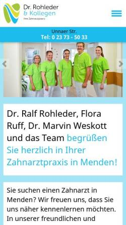 Vorschau der mobilen Webseite www.zahnarzt-rohleder.de, Dr. Ralf Rohleder und Partner