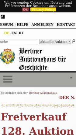 Vorschau der mobilen Webseite www.berliner-auktionshaus.com, Berliner Auktionshaus