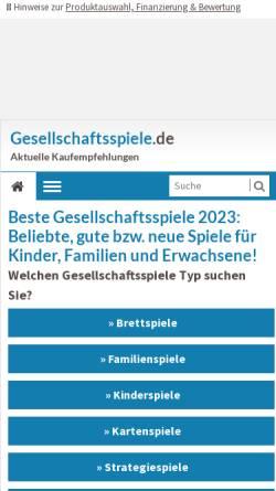 Vorschau der mobilen Webseite www.gesellschaftsspiele.de, Weblog über Gesellschaftsspiele: Kategorie