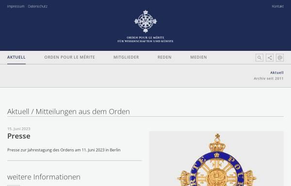 Vorschau von www.orden-pourlemerite.de, Orden Pour le mérite für Kunst und Wissenschaft