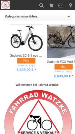 Vorschau der mobilen Webseite www.fahrrad-watzke.de, Fahrrad-Watzke