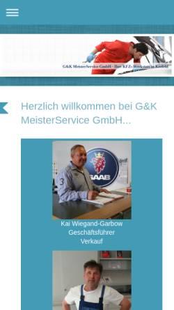 Vorschau der mobilen Webseite www.gk-meisterservice.de, Saab-Zentrum-Krefeld