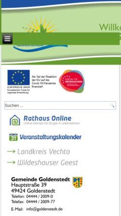Vorschau der mobilen Webseite www.goldenstedt.de, Gemeinde Goldenstedt