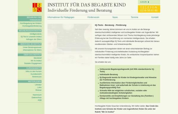 Vorschau von www.hochbegabten-homepage.de, Dr. Oschmann GmbH - Institut für das begabte Kind