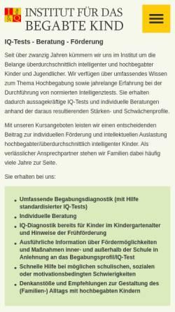 Vorschau der mobilen Webseite www.hochbegabten-homepage.de, Dr. Oschmann GmbH - Institut für das begabte Kind