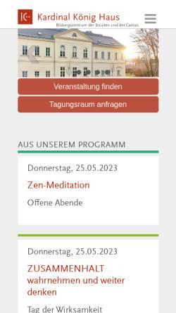 Vorschau der mobilen Webseite www.kardinal-koenig-haus.at, Kardinal König Haus