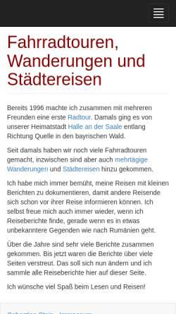 Vorschau der mobilen Webseite fahrradtour-wandern-reisen.hpfsc.de, Sebastian Stein