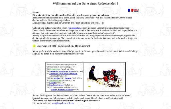 Vorschau von www.bicycletraveller.de, Seite eines Radreisenden