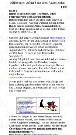 Vorschau der mobilen Webseite www.bicycletraveller.de, Seite eines Radreisenden