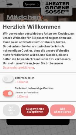 Vorschau der mobilen Webseite www.theatergruenesosse.de, Frankfurt / Main, TheaterGrueneSosse