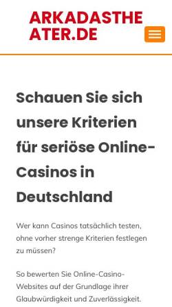 Vorschau der mobilen Webseite www.arkadastheater.de, Köln, Arkadas Theater