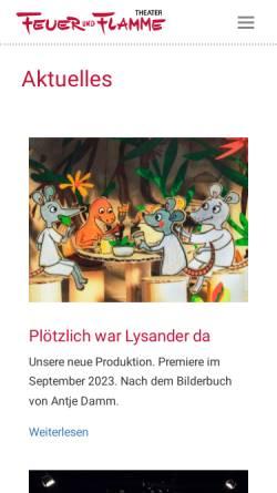 Vorschau der mobilen Webseite www.feuerundflamme.de, Theater Feuer und Flamme