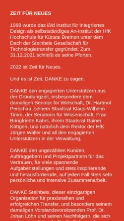 Vorschau der mobilen Webseite www.iidbremen.de, Institut für Integriertes Design (:i/i/d)