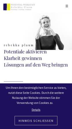 Vorschau der mobilen Webseite www.potential-werkstatt.de, Potential-Werkstatt - U. Rebekka Plaum