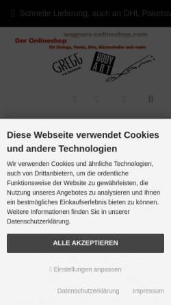 Vorschau der mobilen Webseite www.wagners-onlineshop.com, Wagners-Onlineshop.com, Karsten Wagner