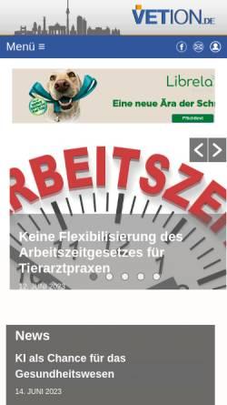 Vorschau der mobilen Webseite www.vetion.de, Tierärzteverzeichnis Deutschland