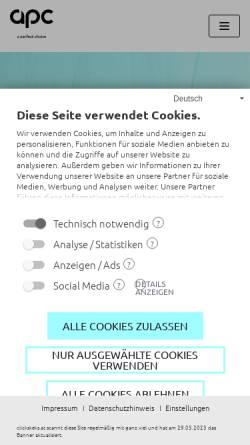 Vorschau der mobilen Webseite www.apc.co.at, APC Personalleasing GmbH
