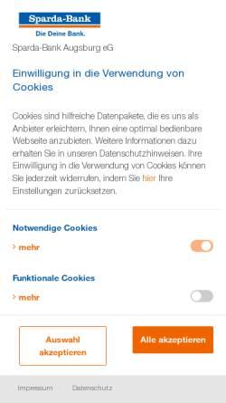 Vorschau der mobilen Webseite www.sparda-a.de, Sparda Bank Augsburg eG