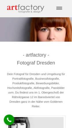 Vorschau der mobilen Webseite www.artfactory-dresden.de, Art Factory - Fotografie & Design