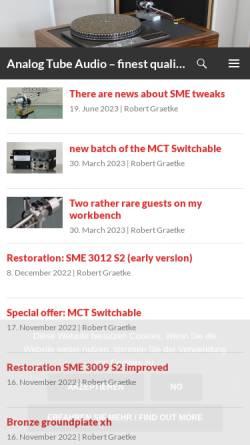 Vorschau der mobilen Webseite www.analogtubeaudio.de, Analog Tube Audio - Robert Graetke