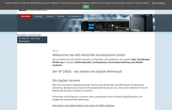 Vorschau von www.ars-akustika.com, Ars Akustika Soundsystems GmbH