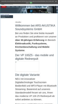 Vorschau der mobilen Webseite www.ars-akustika.com, Ars Akustika Soundsystems GmbH