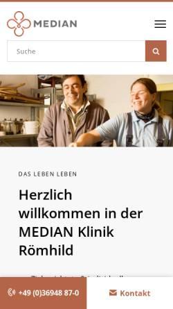 Vorschau der mobilen Webseite www.median-kliniken.de, AHG Klinik Römhild