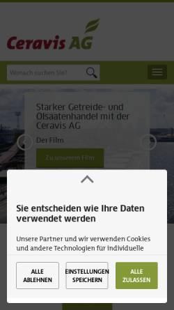 Vorschau der mobilen Webseite www.ceravis.de, Getreide AG Rendsburg