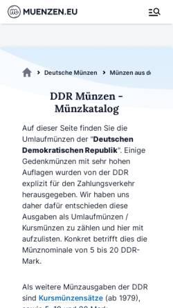 Vorschau der mobilen Webseite ddr-muenzen.de, DDR-Münzen
