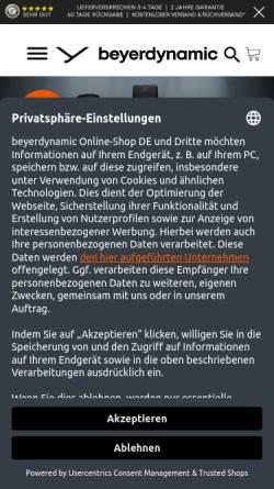 Vorschau der mobilen Webseite www.beyerdynamic.de, Beyerdynamic GmbH & Co. KG