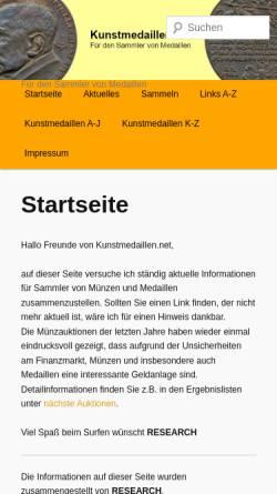 Vorschau der mobilen Webseite kunstmedaillen.net, Kunstmedaillen