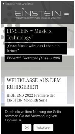Vorschau der mobilen Webseite einstein-audio.de, Einstein Audio Components