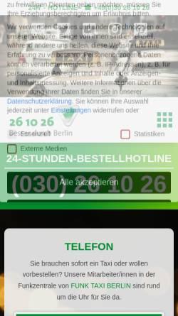Vorschau der mobilen Webseite www.funk-taxi-berlin.de, Funk Taxi Berlin
