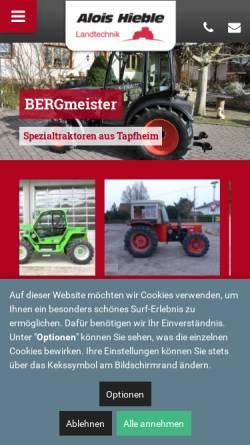 Vorschau der mobilen Webseite www.alois-hieble.de, Alois Hieble & Co. - Landmaschinen und Maschinenbau