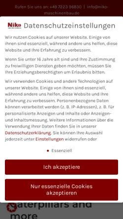 Vorschau der mobilen Webseite niko-maschinenbau.de, Niko GmbH