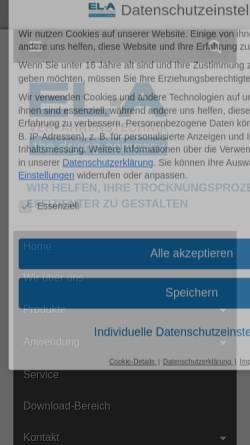 Vorschau der mobilen Webseite www.ela-vt.de, EL-A Verfahrenstechnik GmbH
