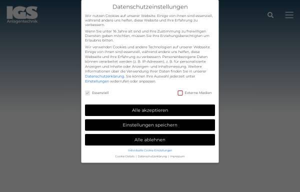 Vorschau von www.igs-anlagentechnik.de, IGS Ingenieurbüro für Anlagentechnik, Inh. Dipl-Ing. Gerd Schäfer