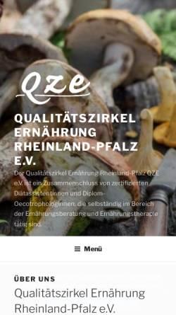 Vorschau der mobilen Webseite www.ernaehrung-rlp.de, Qualitätszirkel Ernährung Rheinland-Pfalz QZE e.V.