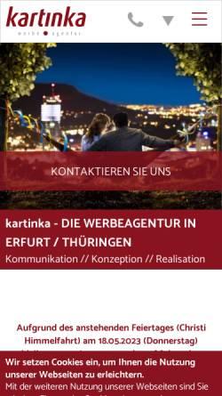 Vorschau der mobilen Webseite www.kartinka.de, kartinka Werbeagentur GmbH & Co. KG