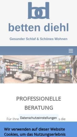 Vorschau der mobilen Webseite www.betten-diehl.de, Betten-Diehl