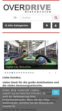 Vorschau der mobilen Webseite slotservice.com, Overdrive Slotservice