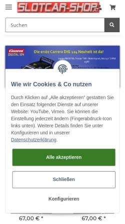 Vorschau der mobilen Webseite www.slotcar-shop.at, SlotCar-Shop, Promodesign Franz Schinagl