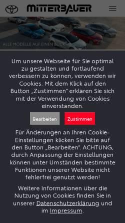 Vorschau der mobilen Webseite www.toyotalinz.at, Toyota Mitterbauer